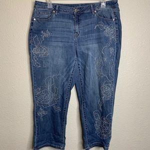 Lane Bryant Embroidered Crop Pants Sz16
